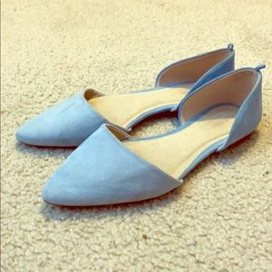 baby blue suede flats